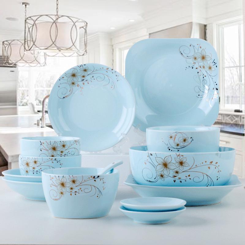 碗碟套装家用陶瓷碗筷盘子北欧现代创意个性餐具景德镇简约吃饭碗