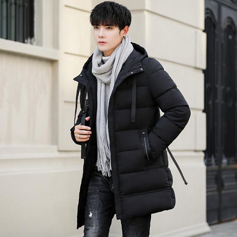 时尚男士冬季中长款羽绒棉衣男2019外套棉袄加厚韩版潮流工装棉服