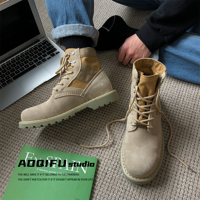 Martin boots mens new plush high help British style war wolf tooling boots versatile trend couple thick soled desert boots