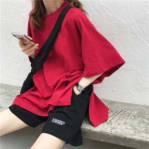 超火cec开叉短袖T恤女夏ins潮心机设计感学生大版宽松半袖上衣服