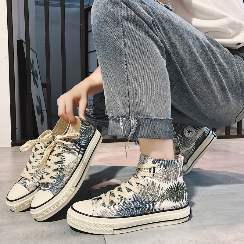 Printed high top canvas shoes mens black and white pattern spring and autumn Hong Kong Wind College