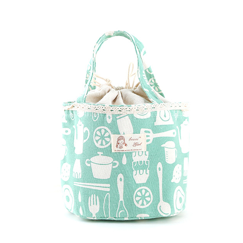Korean version lovely fresh canvas waterproof with rice primary school childrens lunch handbag lunch box bag round large
