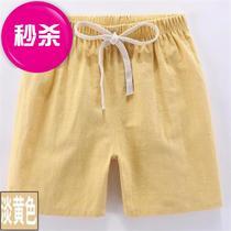 男童麻料短裤儿童短裤夏薄男女c孩宝宝外穿人造棉宽松运动热裤小
