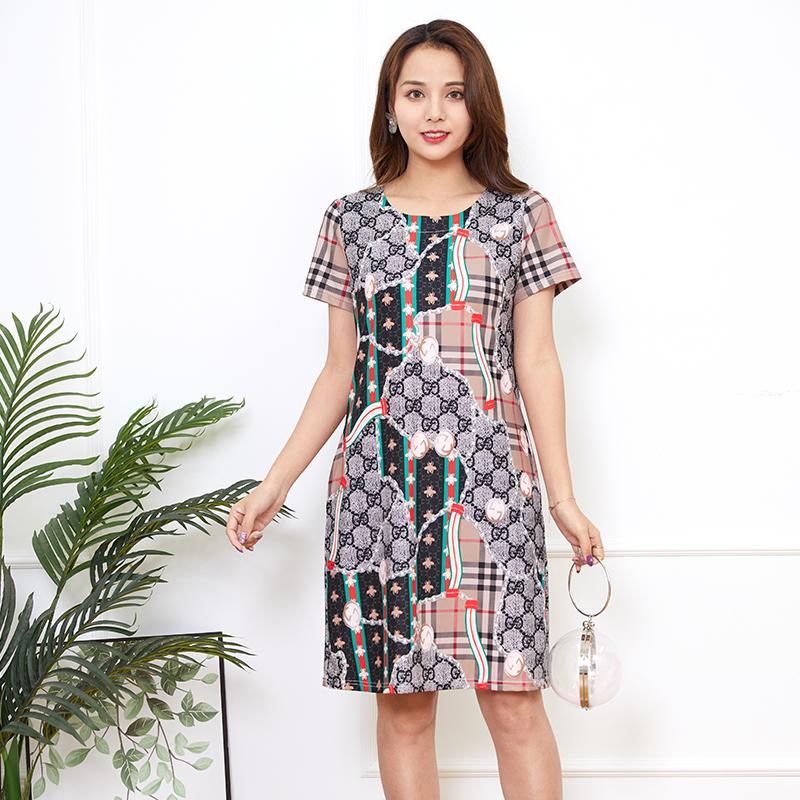 2020新款连衣裙短袖女冰丝弹力苏格兰格纹印花套头柔软欧洲站裙子