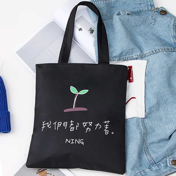 Pure color white bag outdoor with lovely girl canvas bag zipper spring bag small fresh
