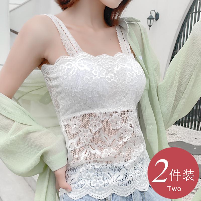 蕾丝吊带背心女性感外穿百搭裹胸长款打底衫内搭显瘦白色上衣女夏