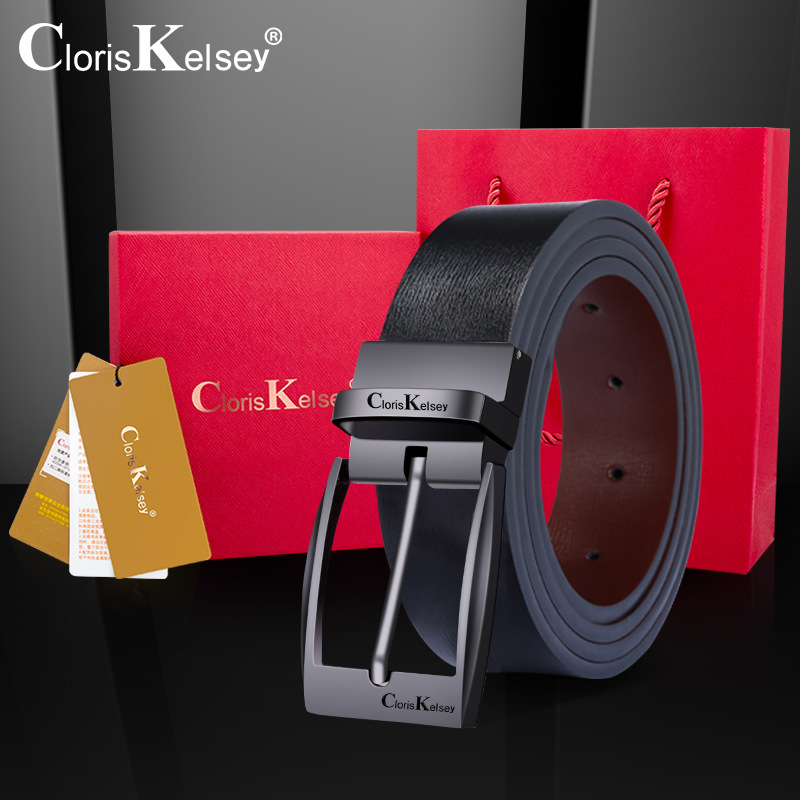 CK mens leather belt business leather leather rotation Korean youth fashion casual jeans pin buckle pants belt for men