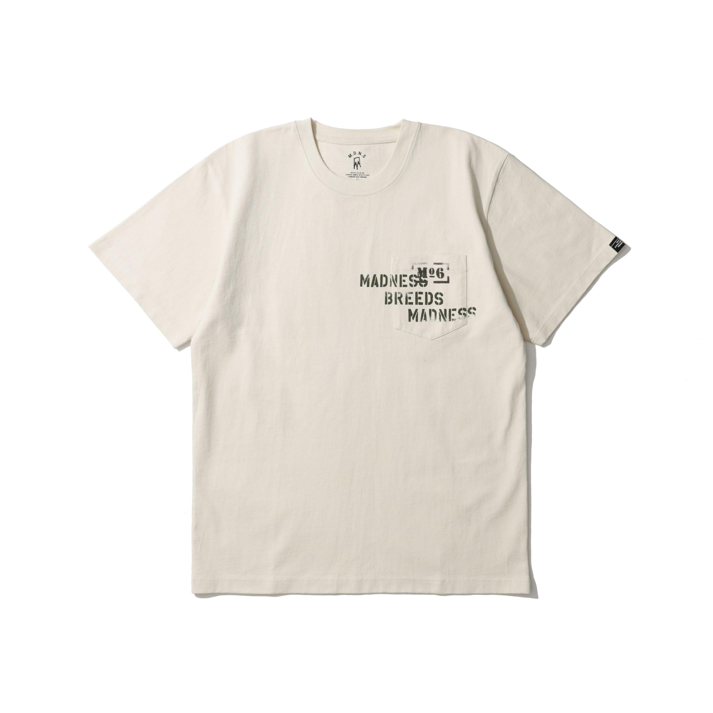 MADNESS理念印花洗水口袋短袖T恤