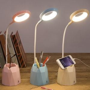 儿童LED小台灯护眼书桌学生写字学习USB充电带充电宝手机支架笔筒