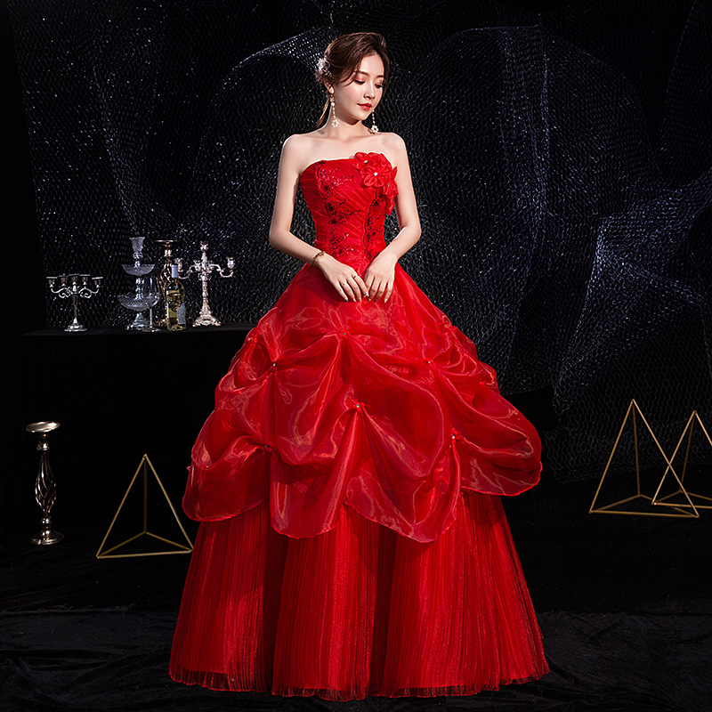 2020 new luxury red lace embroidery show thin Wedding Dress Bridal Wedding Dress bra Red Large