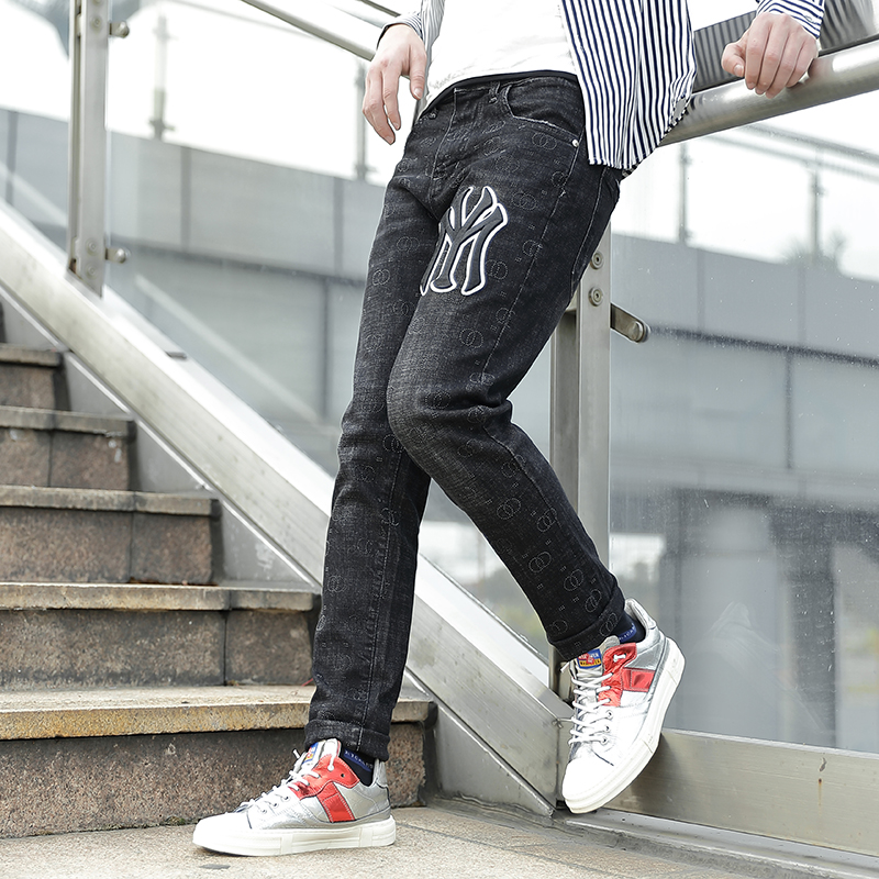 Think of new fashion jeans mens slim straight elastic pants casual trend PANTS YOUTH jeans