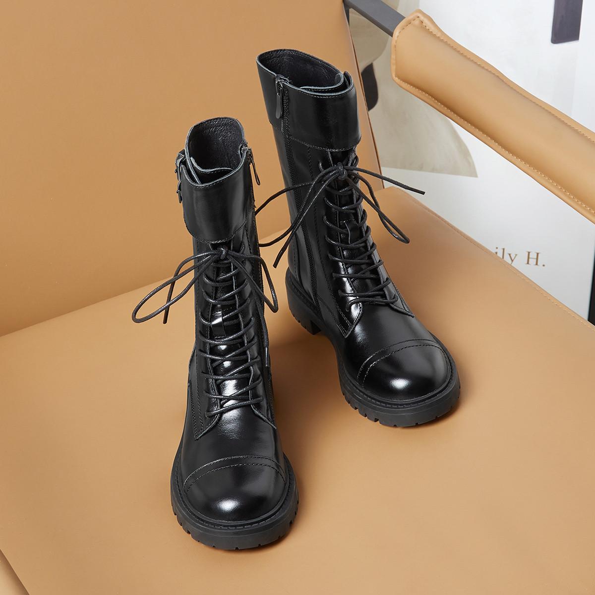 杰雷哈洛中筒靴女新款小资牛皮街头拉链女马丁靴机车靴