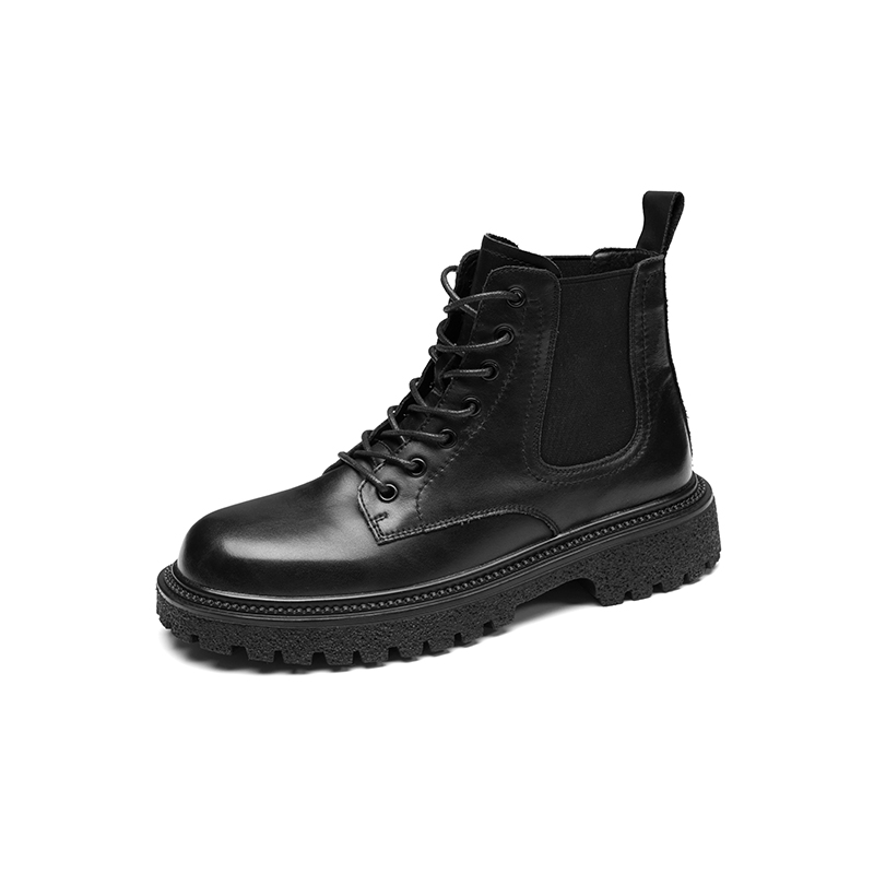 2021 new fashion casual round head lace up flat heel boots Martin boots