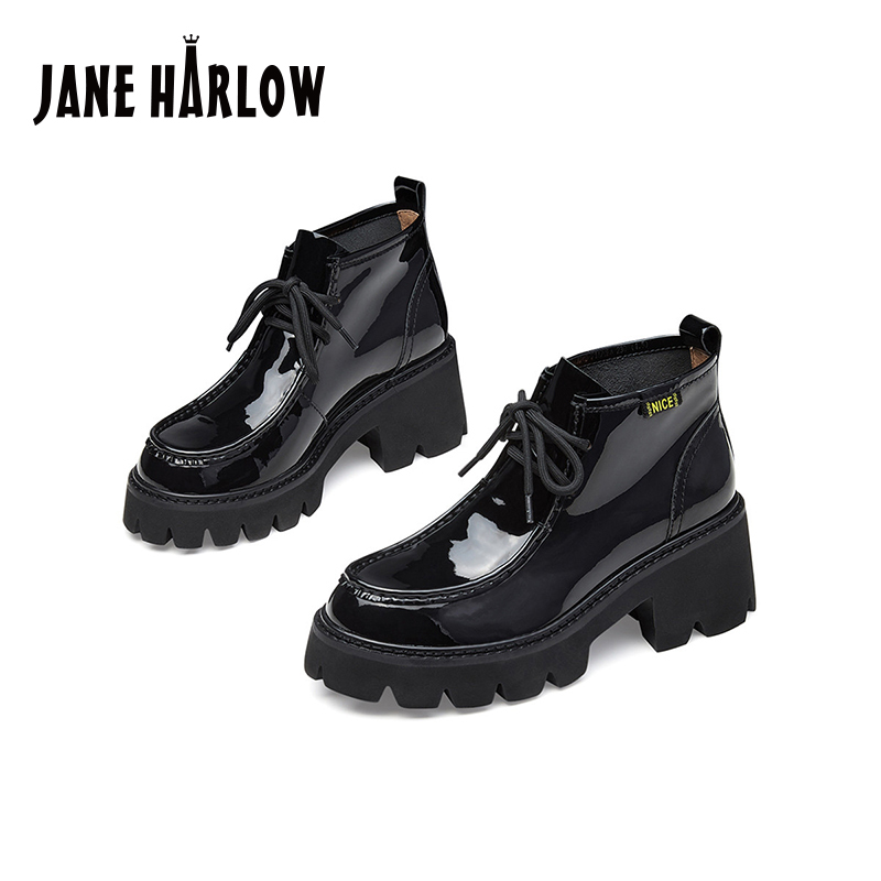 Jerryhallo career womens shoes autumn and winter Black Ankle Boots short tube thick soled high heel boots j24df21170pa