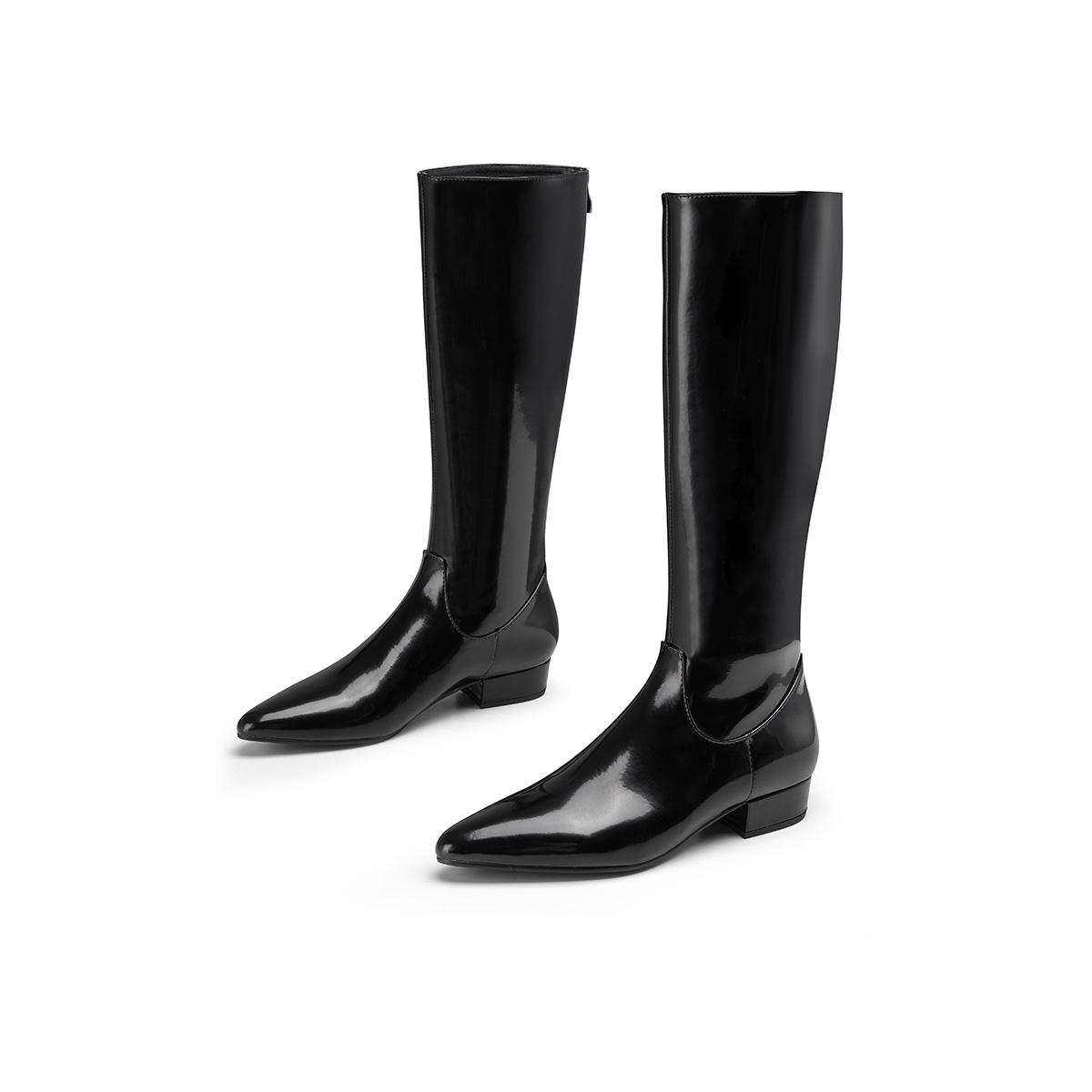 【骑士靴】2021秋冬新款尖头拉链粗跟女高筒靴马丁靴女靴长靴