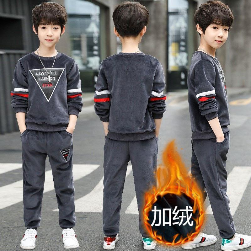 童谣虎金丝绒男童套装2019韩版新款加厚中大童冬装套装加绒两件套