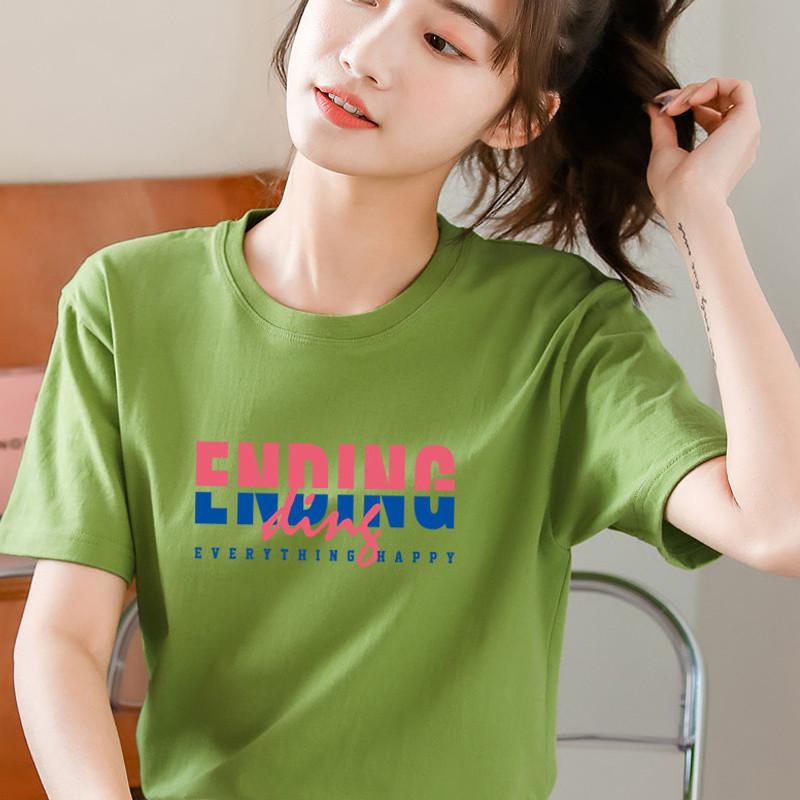 2021新款短袖纯白色t恤女装夏季修身黑色打底衫纯棉韩范上衣体恤