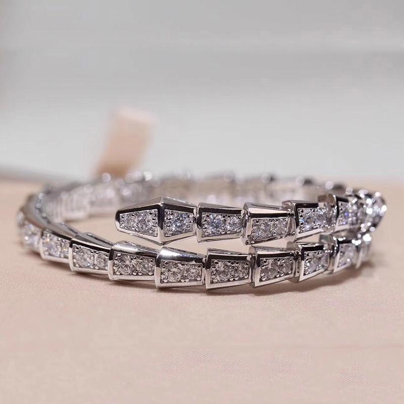 Genuine snake diamond womens bracelet snake s925925 full diamond open Bracelet elastic couple jewelry pair