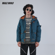 Male Wolf / male wolf men's cotton clothes Japanese street work clothes hooded students youth simple cotton coat fashion