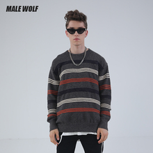 Male Wolf / male wolf stripe sweater daily simple Japanese fashion round neck Pullover student youth t-shirt