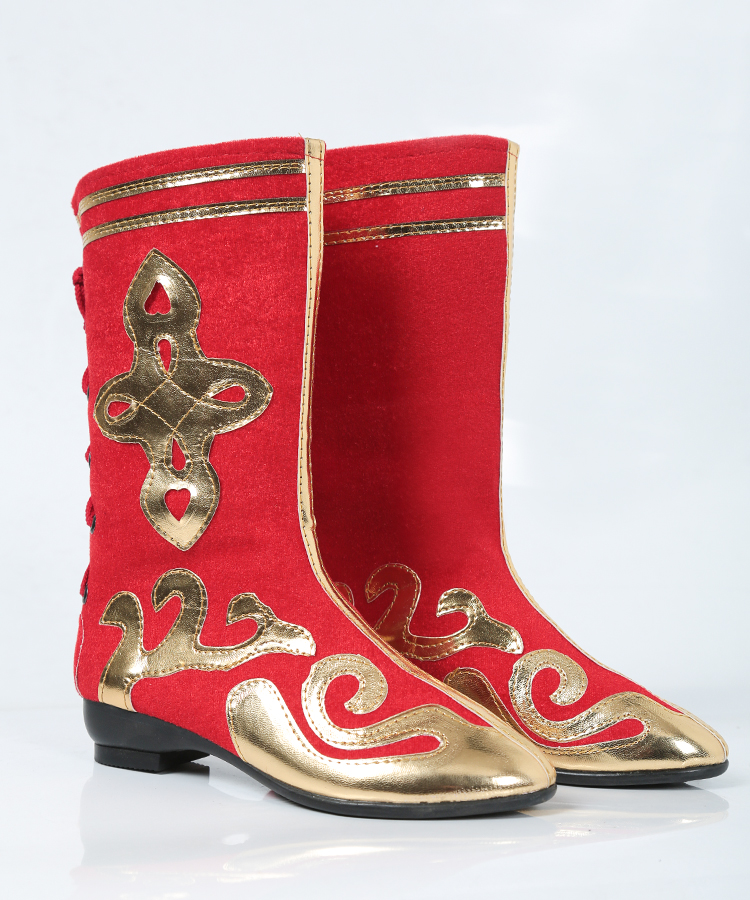 Adult childrens performance costume stage high boots ethnic Mongolian Tibetan dance shoes