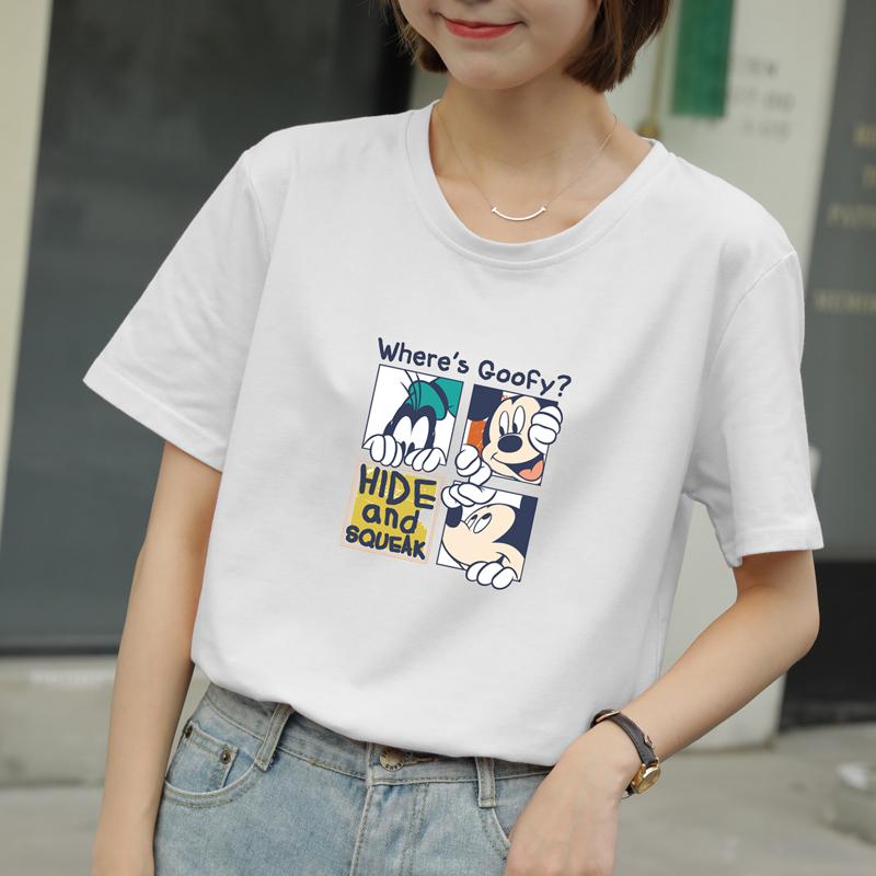 白色短袖t恤女宽松韩版2020夏装新款原宿风bf学生百搭半袖上衣服图片