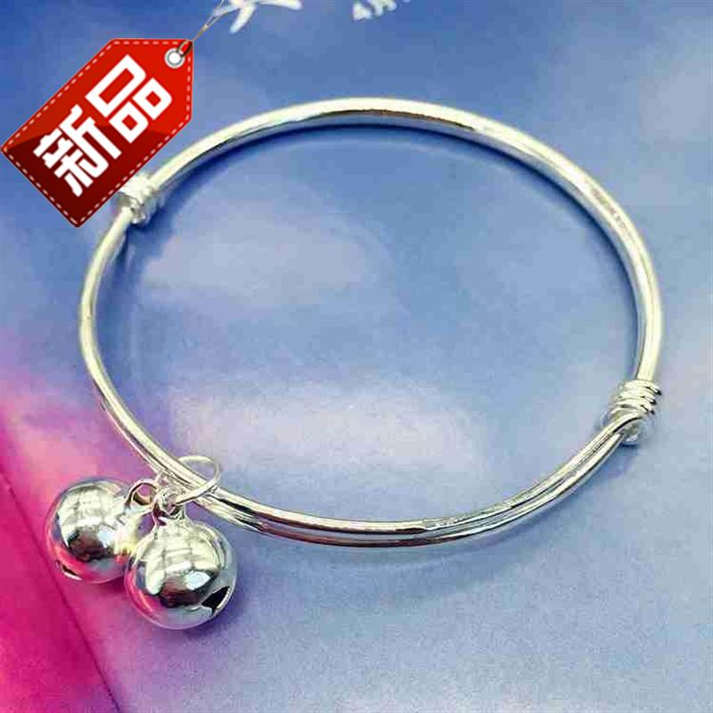 New Korean small fresh bell Bracelet Silver Fashion Chain girls smooth face simple t versatile temperament foot ring