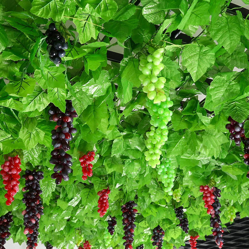 Simulation of grape leaves, artificial flowers, vines, vines, plastic green leaves, indoor ceiling decoration, winding of water pipes to shield green plants