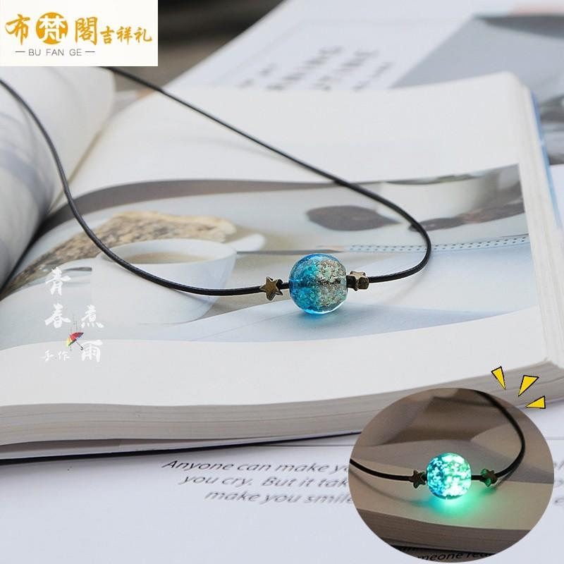Drunken starry sky glow at night gradual Glass Necklace transfer jewelry stone pendant student lovers collarbone neck chain men and women