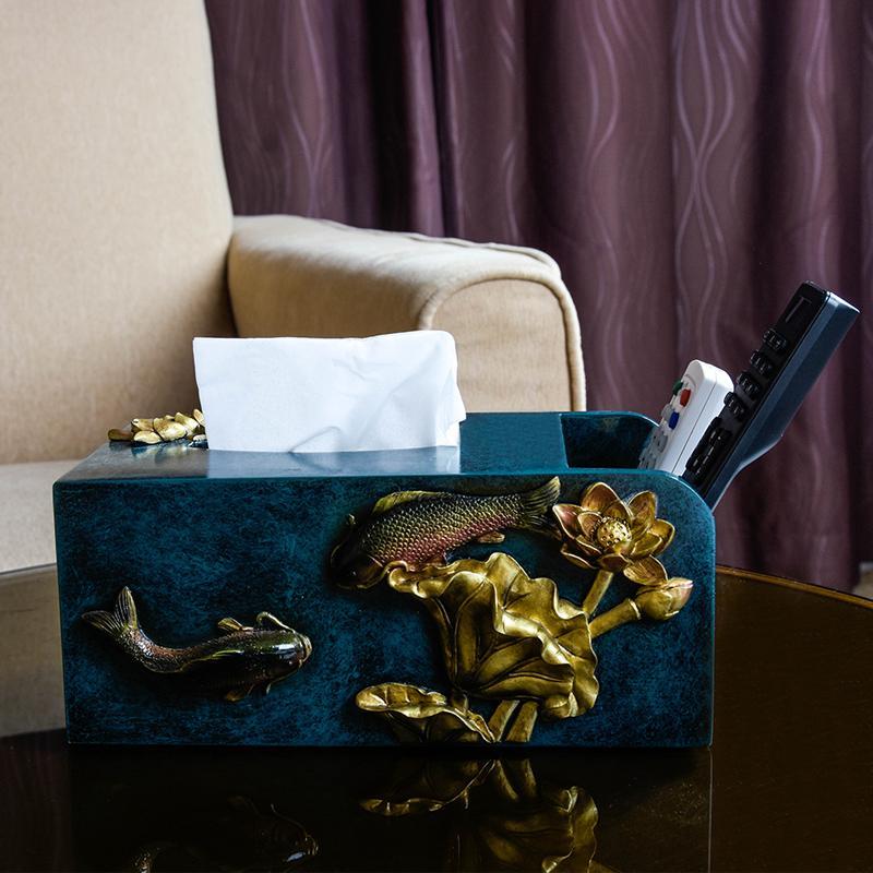 新中式纸巾盒摆件家居茶几装饰品客厅多功能抽纸盒家用遥控收纳盒