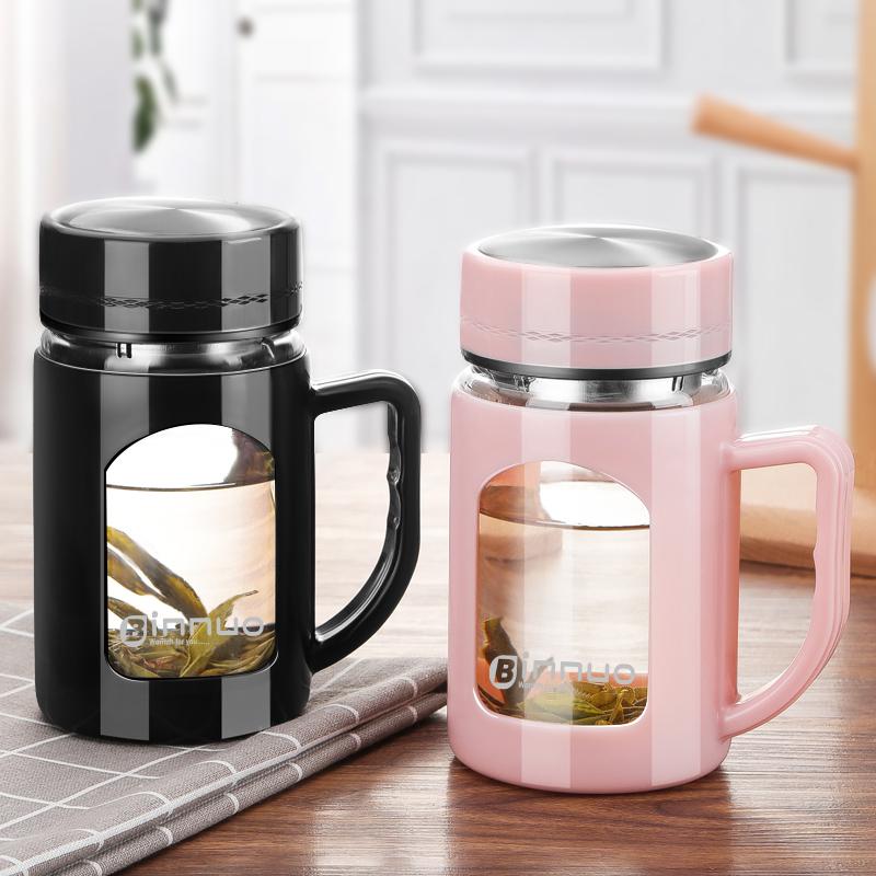 玻璃杯帶把男女簡約清新森系家用水杯帶蓋辦公室杯子泡茶杯ins風