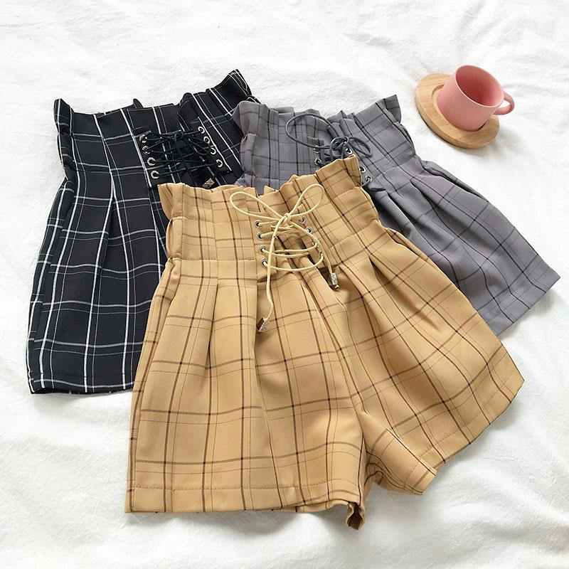 Summer 2018 new Korean style all-around high waist flower bud tie Plaid Shorts women loose wide leg casual hot pants students