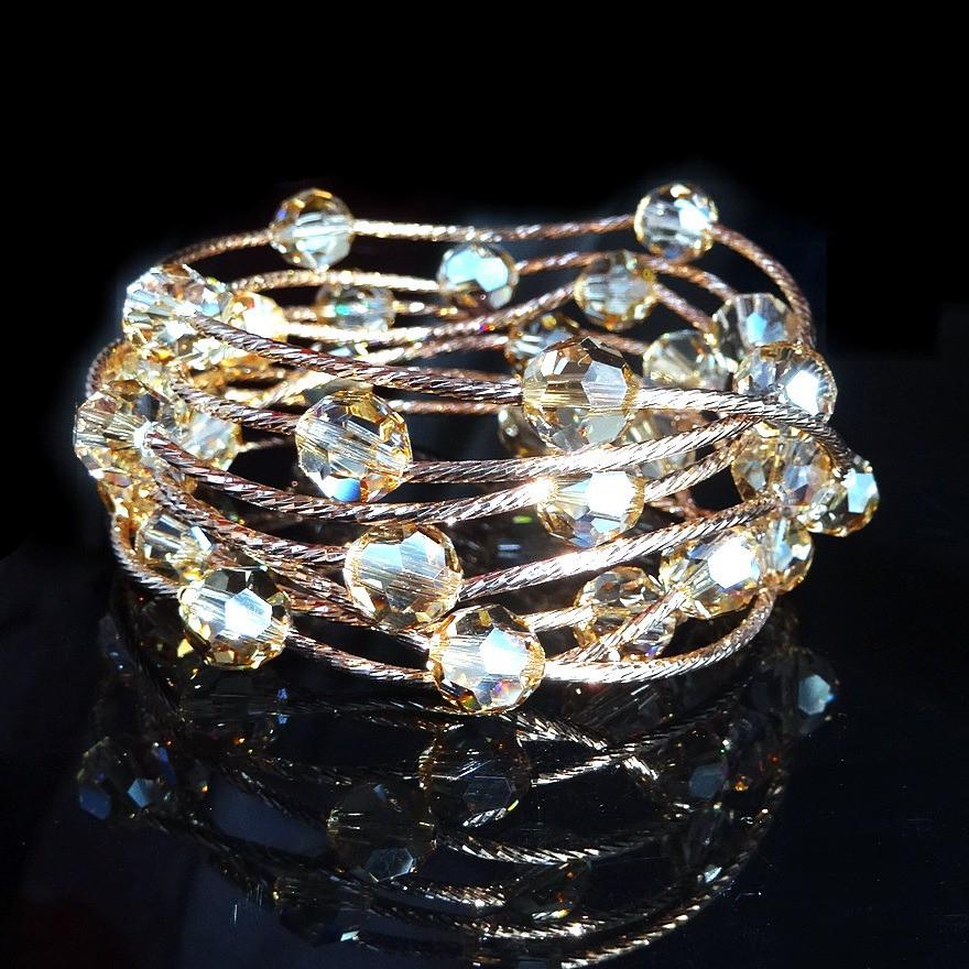 奥地利水晶手链女韩版时尚多层圈S925银玫瑰金手串手镯情人节礼物