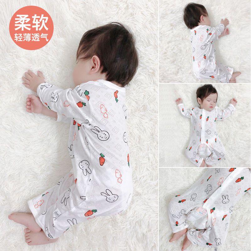 婴儿连体衣夏季薄款长袖新生幼儿夏装男宝宝空调服睡衣网红哈衣女
