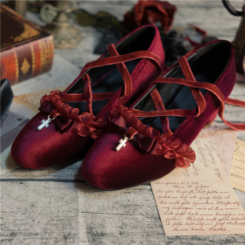 [Final Payment] [only with deposit! ?The original velvet lace up shoes of Lolita