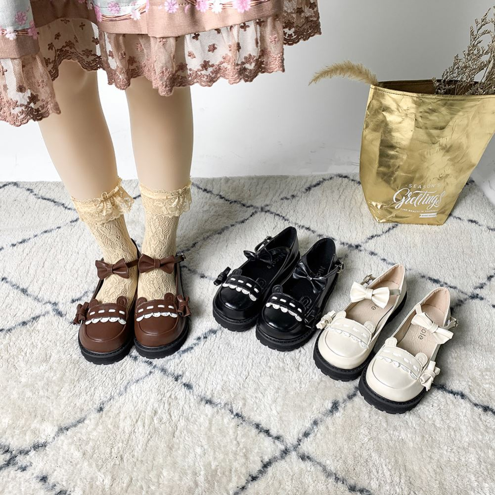 Lolita shoes tea party shoes basic round head flat sole shoes Bobo bear Lolita shoes