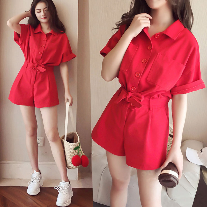 Shirt collar overalls womens summer and Korean high waist loose show thin broad leg shorts overalls casual suit