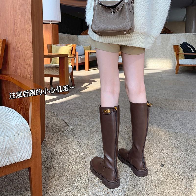 厚底不过膝高筒骑士靴女2021秋冬季新款圆头后拉链金属扣英伦靴子