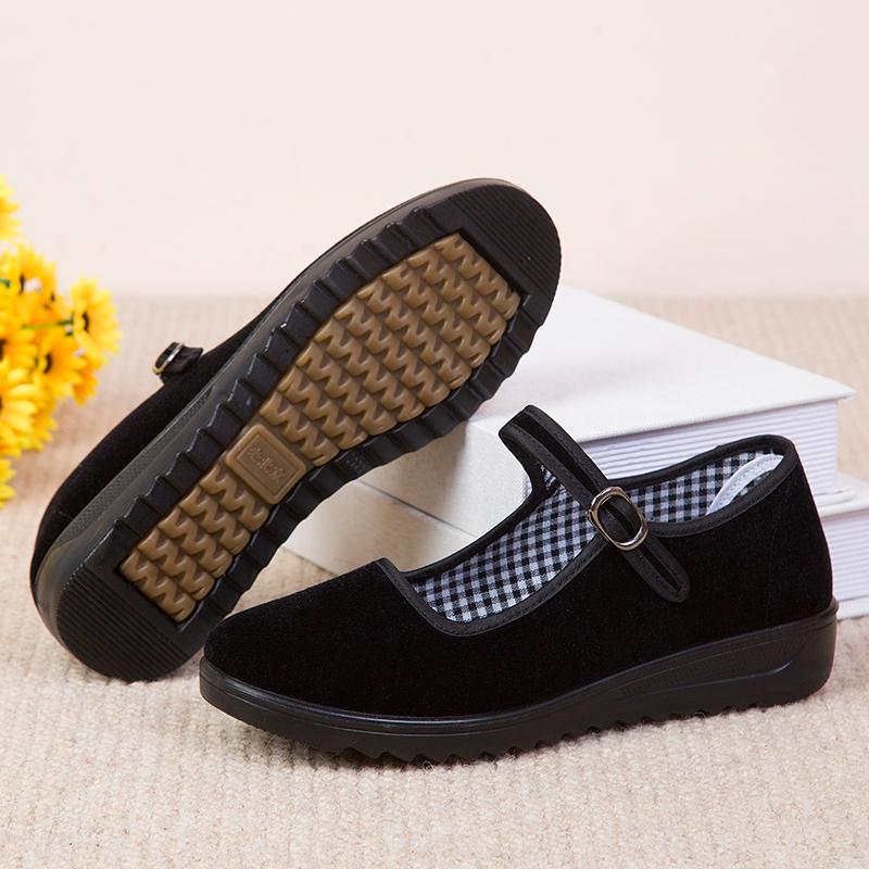 新款老北京布鞋女鞋中跟单鞋软底工作鞋黑色酒店鞋防滑跳舞妈妈鞋