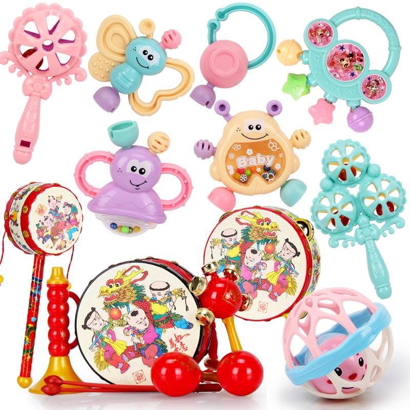 婴儿摇铃幼儿童组合咬胶趣味磨牙器母婴玩具波浪鼓摇铃婴幼儿视力