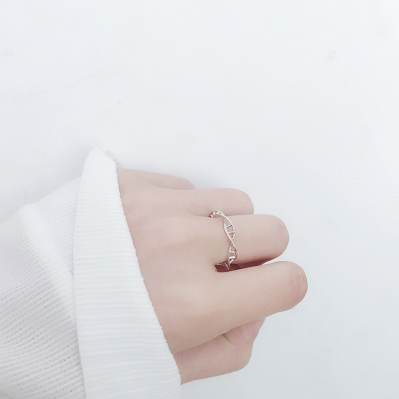 S925 Silver Ring Korean personalized DNA double helix ring geometric rotary opening female personality fresh and simple