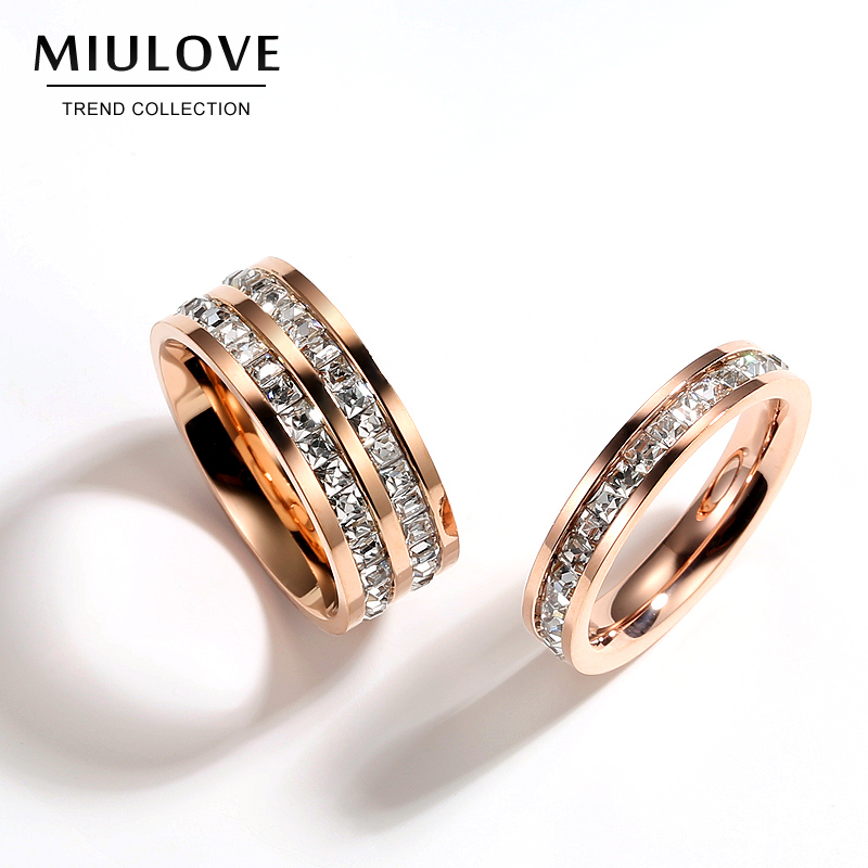 Mr European and American Jewelry plated 18k rose gold double row full diamond Korean fashion index finger ring female ring titanium steel