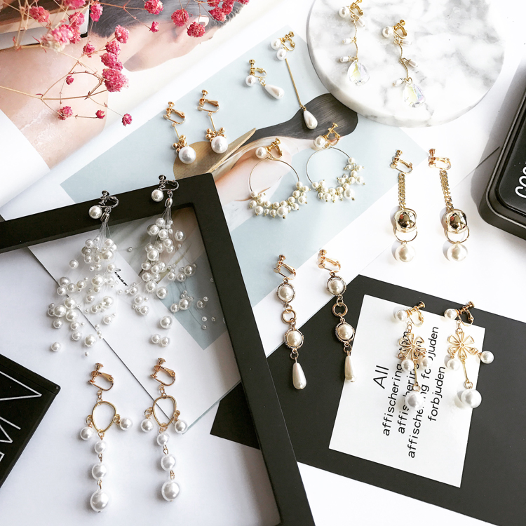 Pearl Earring clip type ear clip without ear hole female Han Mingyuan simple and fresh long pendant TASSEL EAR STUD accessories