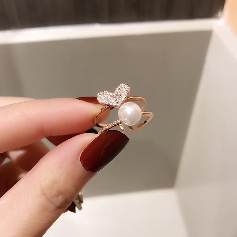 简约气质甜美珍珠爱心双层戒指指环女网红潮人学生个性创意开口戒