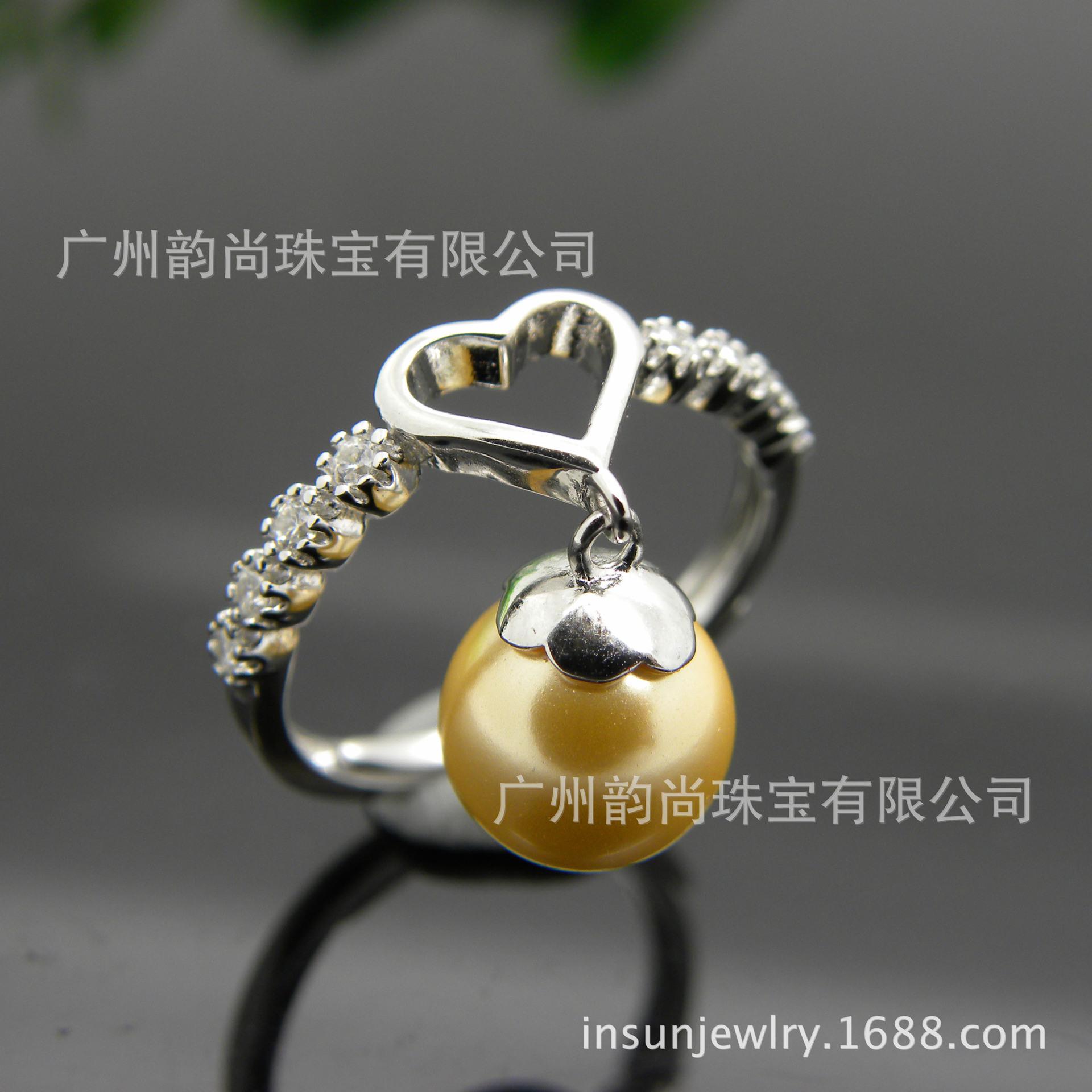 心型金色珍珠戒指 送爱人 S925银珍珠戒指 欢迎来厂参观 订做