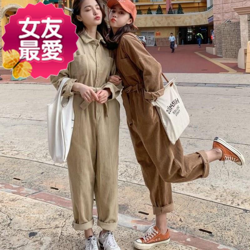 连衣裤◆定制◆女2019秋季新款女装韩版长袖长裤休闲连体裤工装裤