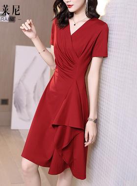 红色v领连衣裙夏天2021年新款春显瘦气质修身赫本风小裙子女夏季