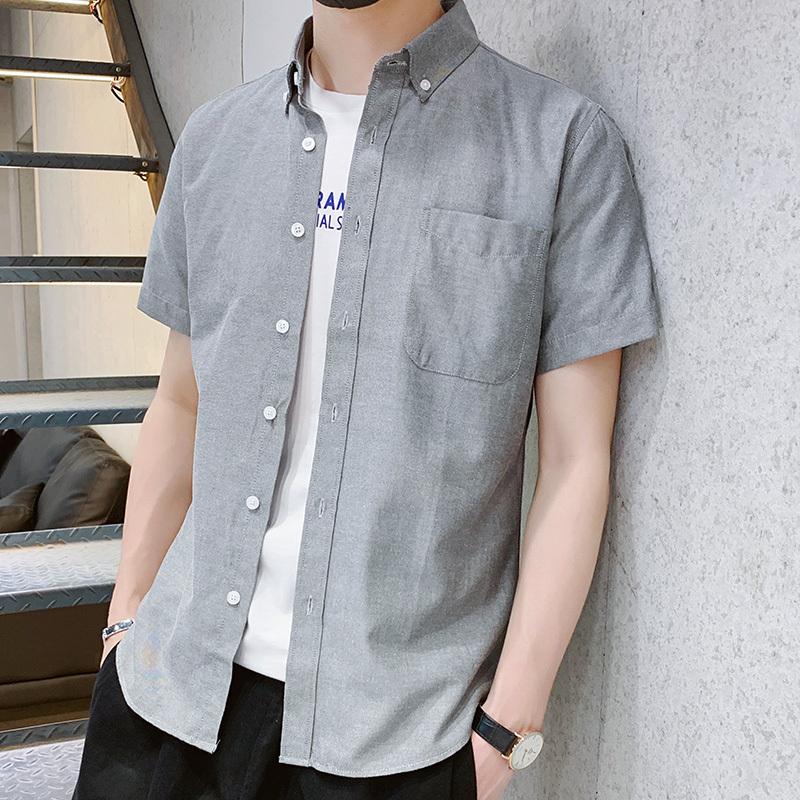 戈续夏季新款男士衬衫男短袖免烫修身青年休闲衬衣时尚纯棉男装