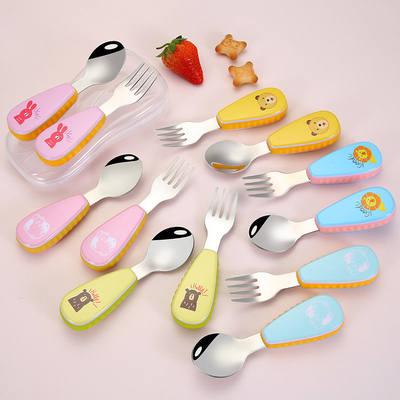 小勺子家用吃饭不锈钢304汤勺可爱卡通短柄勺子小宝宝一体调羹