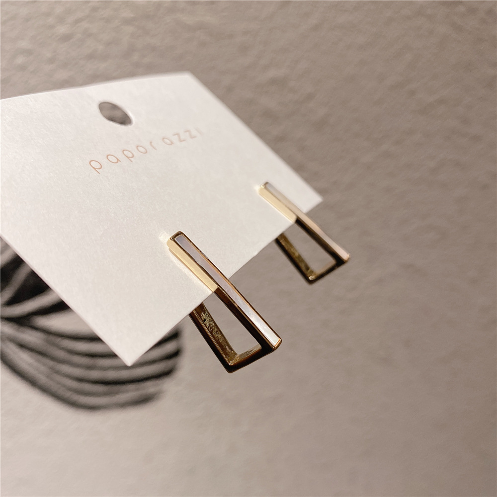 Korean 925 silver needle geometric silver needle Earrings simple style and versatile personality, gold plated earrings for women